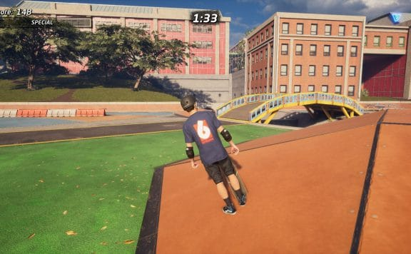Tony Hawk stands at an unnatural angle when stopped on an incline.