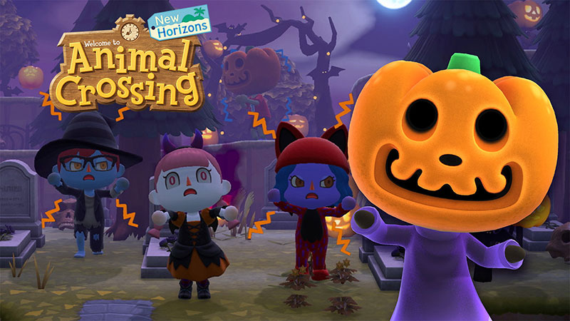 Animal Crossing dressed up in costumes and Jack with a pumpkin head