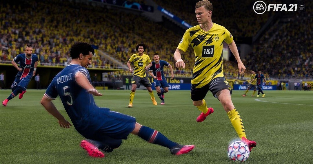 FIFA 21 player about to slide and steal the ball