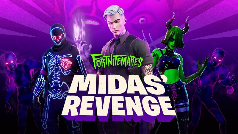 Fortnitemares graphic with Midas and other skins