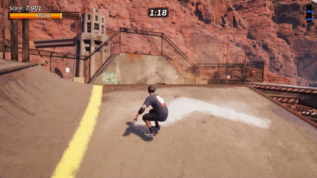 The secret tape in Downhill Jam is high above the area just before the downhill half pipe