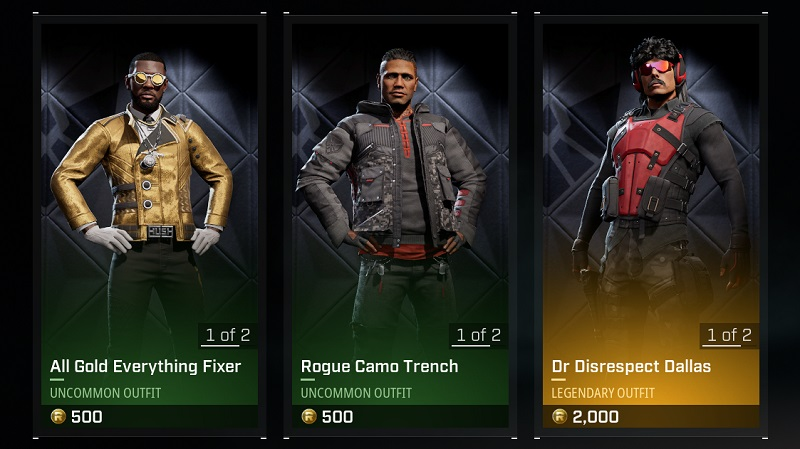 Rogue Company outfits in the Store
