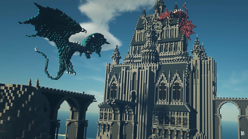 Minecraft medieval tower and dragons