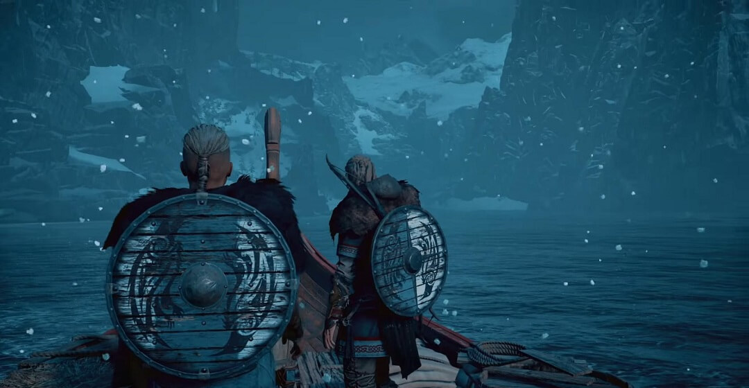 Valhalla characters riding on a ship at night
