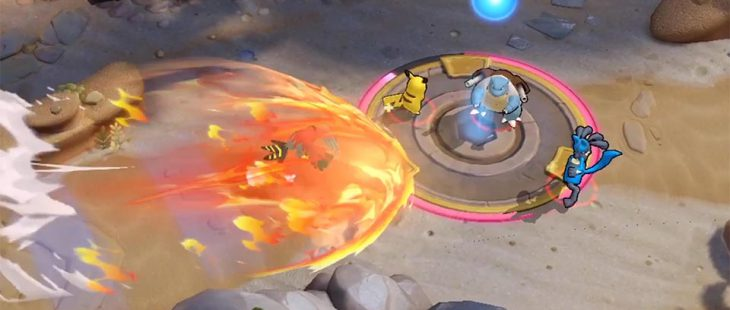 Talonflame uses its Unite Move to attack the opposing team in their goal.